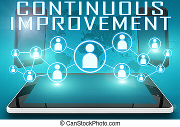 Continuous Improvement - text illustration with social icons...