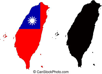 taiwan - vector map and flag of taiwan with white...