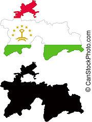 tajikistan - vector map and flag of Tajikistan with white...