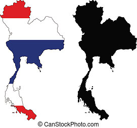 thailand - vector map and flag of Thailand with white...