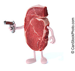 steak with arms, legs and gun on hand, isoloated 3d...