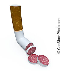 cigarette sliced like salami, healt food concept, 3d...