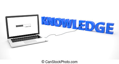 Knowledge - laptop notebook computer connected to a word on...