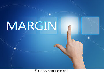Margin - hand pressing button on interface with blue...