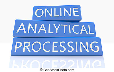Online Analytical Processing - 3d render blue box with text...