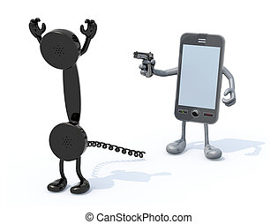 smartphone wielding gun to the vintage phone handset -...