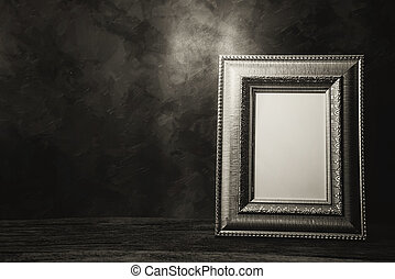 still life of picture frame on table, Black and White image