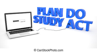 Plan Do Study Act - laptop notebook computer connected to a...