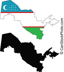 uzbekistan - vector map and flag of Uzbekistan with white...