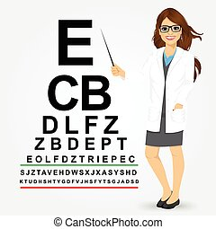 female optician pointing to snellen chart - Attractive...