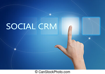 Social CRM - hand pressing button on interface with blue...