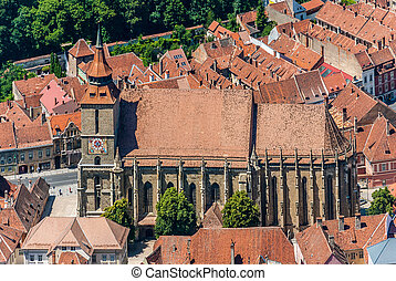 Brasov landmark - Black church - Over-view over Brasovs most...