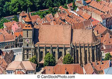 Brasov landmark - Black church - Over-view over Brasov's...
