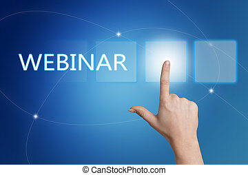 Webinar - hand pressing button on interface with blue...