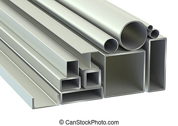Stack of Rolled Metal Products isolated on white background