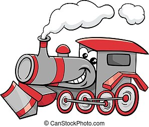 steam engine cartoon character - Cartoon Illustration of...