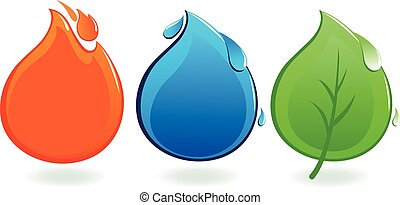 Fire, water drop and leaf icons