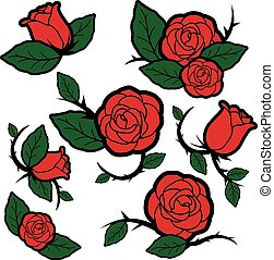 Tattoo style roses and buds - Vector Illustration set of...