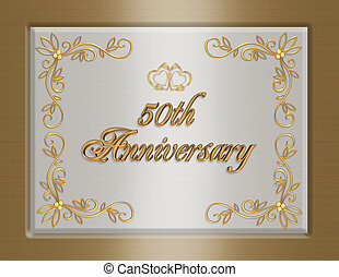 50th golden Wedding Anniversary invitation - 3D Illustrated...