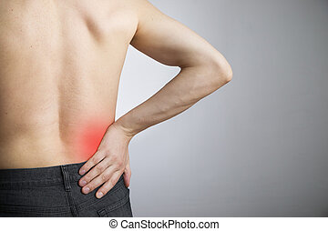 Pain in the lower back in men on gray background