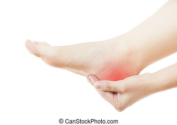 Pain in the female foot - Pain in the foot Massage of female...