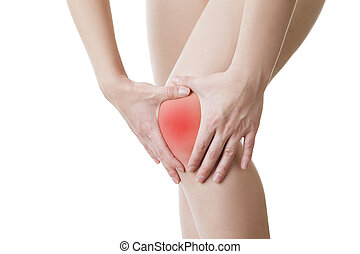 Knee pain of the woman isolated on white background.