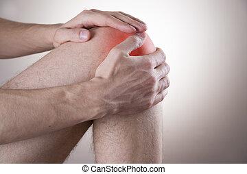 joelho, homens, dor
