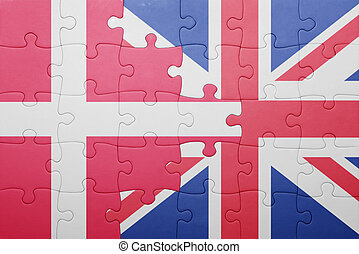 puzzle with the national flag of great britain and denmark ....