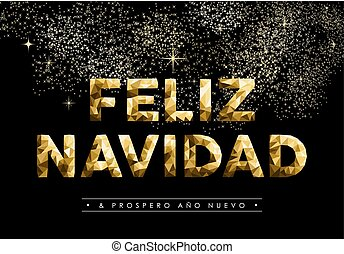 Christmas new year low poly gold spanish navidad - Merry...