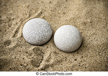 Background rocks and sand closeup. Beach.  Copy space