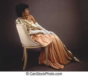 Woman in an evening gown