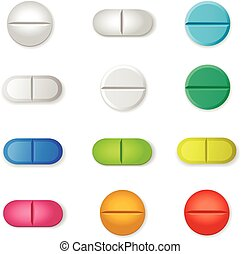 Tablets and colored  pills vector set isolated  on white background.