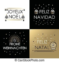 Merry christmas gold line international navidad - Merry...