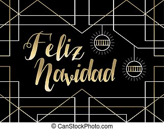 Christmas gold art deco line Spanish feliz navidad - Merry...