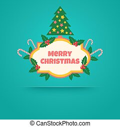 banner with christmas tree