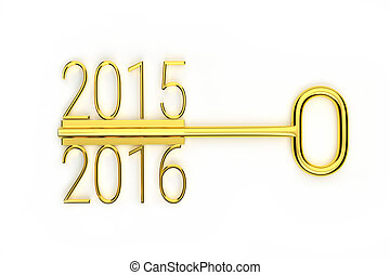 creative golden key - a creative gold key year change...