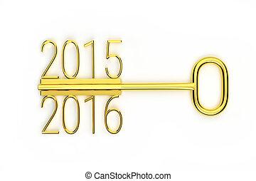 creative golden key - a creative gold key year change...