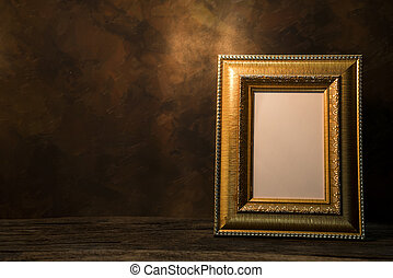 still life of picture frame on table