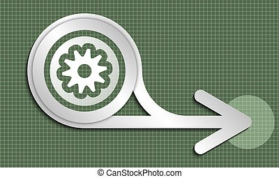 Silver abstract arrow and white cogwheel