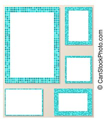 Light blue mosaic page layout border template set