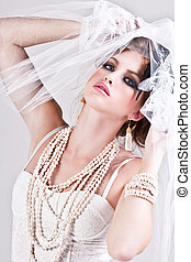 Attractive Young Woman Wearing a Veil - Attractive young...
