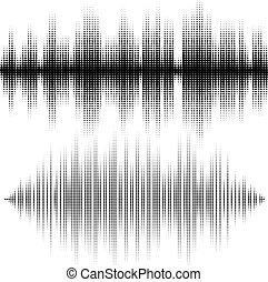 Halftone vector elements. Vector sound waves. Music waveform...