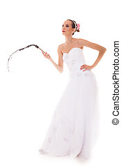 bride white gown holds black leather flogging whip - Wedding...