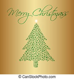christmas tree from snowflakes on gold background greetings cards eps10