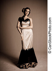 Attractive Young Woman Wearing Evening Gown - Attractive...