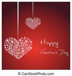 happy valentine with hanging hearts from little lights eps10
