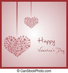 happy valentine with hanging hearts from little red lights...