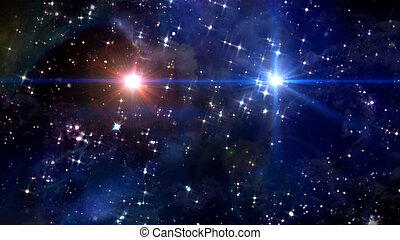two stars cross in star space - starry star night with two...