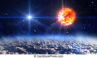 sun with blue planet star cross - starry star night with...