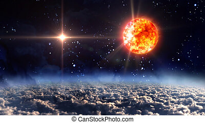 sun with blue planet star lens flare - starry star night...